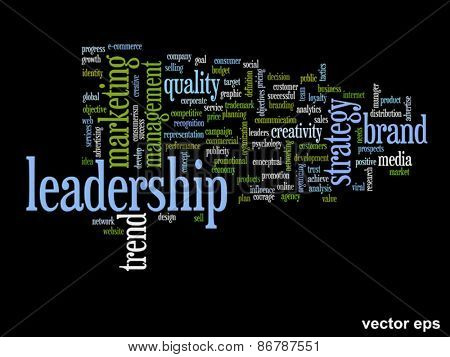 Vector eps concept or conceptual abstract leadership and success word cloud or wordcloud isolated on black background