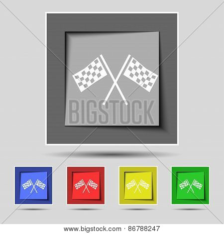 Race Flag Finish Icon Sign On The Original Five Colored Buttons. Vector