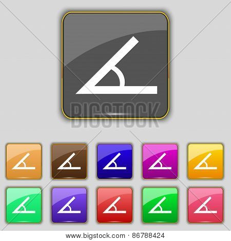 Angle 45 Degrees Icon Sign. Set With Eleven Colored Buttons For Your Site. Vector