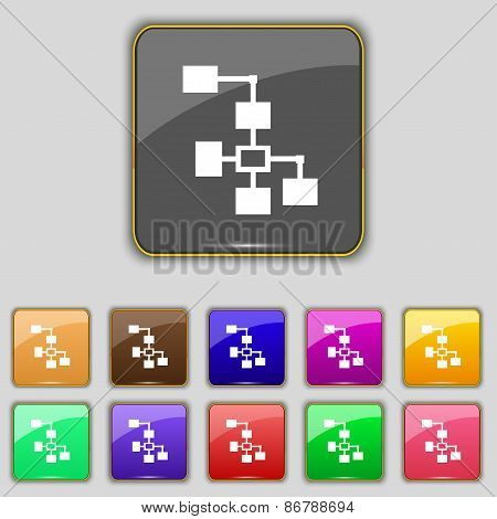Local Network Icon Sign. Set With Eleven Colored Buttons For Your Site. Vector
