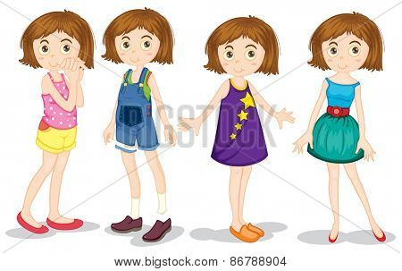 Young girl in different costumes