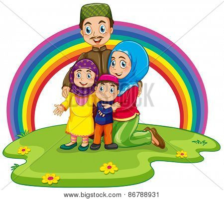 Muslim family with rainbow background