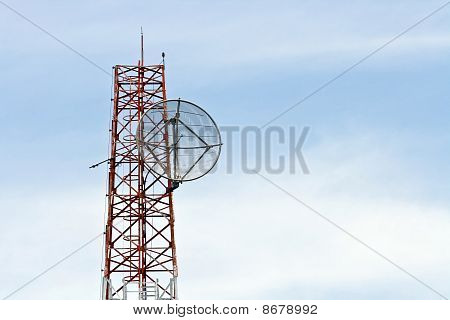 Satellite Dish on Telecommunication Radio antenna Tower