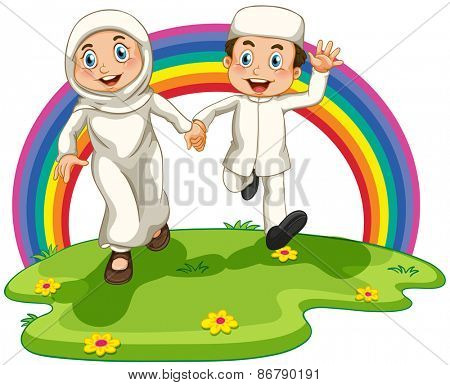 Muslim couple running in the park