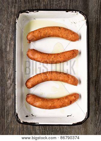 Tray Of Rustic Uncooked Sausages