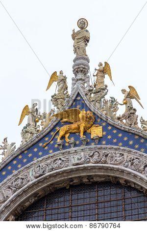 Detail Of Facade, San Marco Basilica In Venice