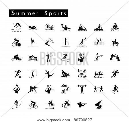 A Set Of 41 Summer Sport Icons