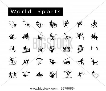 A Set Of 35 World Sport Icons