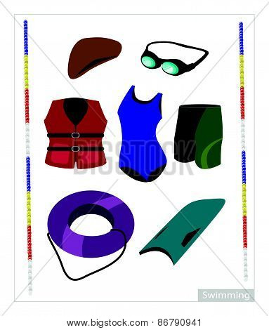 Set Of Swimming Equipment On White Background