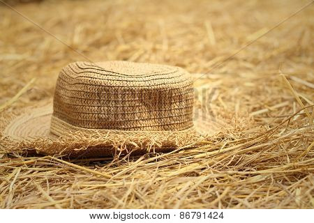 A Brown Hat On A Rice Straw.