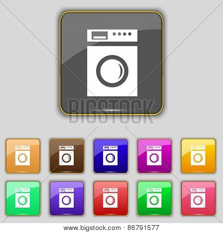 Washing Machine Icon Sign. Set With Eleven Colored Buttons For Your Site. Vector