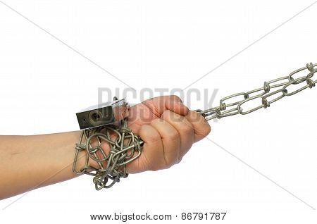 Hands were immobilized with a chain on a white background.