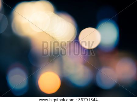 Defocused Blur Bokeh Of Urban At Night