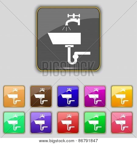 Washbasin Icon Sign. Set With Eleven Colored Buttons For Your Site. Vector