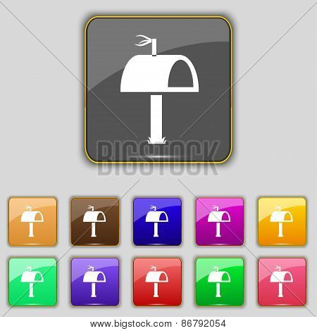 Mailbox Icon Sign. Set With Eleven Colored Buttons For Your Site. Vector