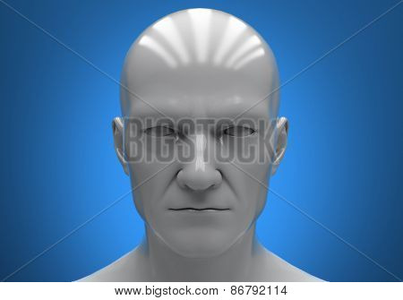 The man's head close-up on a blue background