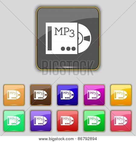 Mp3 Player Icon Sign. Set With Eleven Colored Buttons For Your Site. Vector