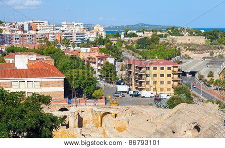 Street View Of Tarragona, Spanish Coastal City