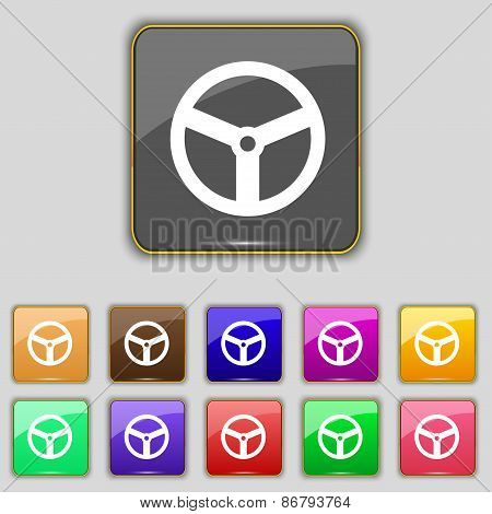 Steering Wheel Icon Sign. Set With Eleven Colored Buttons For Your Site. Vector