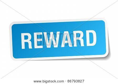 Reward Blue Square Sticker Isolated On White