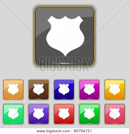 Shield Icon Sign. Set With Eleven Colored Buttons For Your Site. Vector