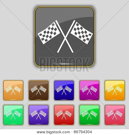 Race Flag Finish Icon Sign. Set With Eleven Colored Buttons For Your Site. Vector