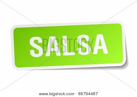 Salsa Green Square Sticker On White Background