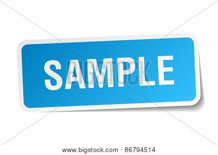 Sample Blue Square Sticker Isolated On White