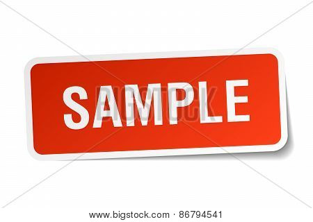 Sample Red Square Sticker Isolated On White