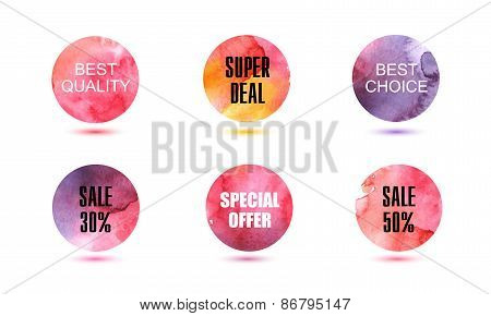 Set of vector abstact watercolor circles, signs, badges, elements to use for banners, flyers