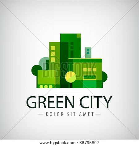 vector green city, buildings, eco icon