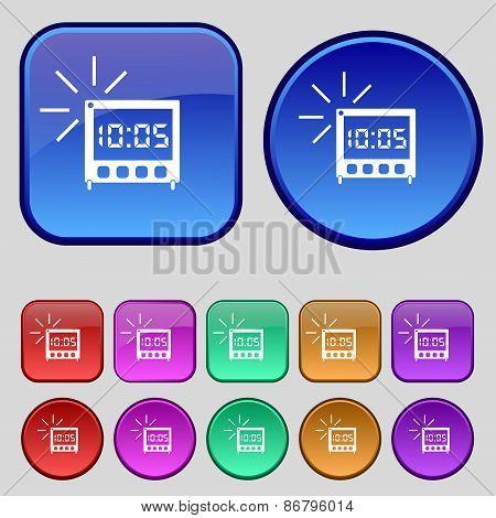 Digital Alarm Clock Icon Sign. A Set Of Twelve Vintage Buttons For Your Design. Vector