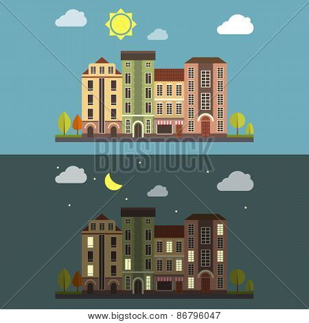 Day and Night Cityscape Vector landscape