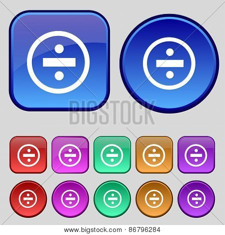 Dividing Icon Sign. A Set Of Twelve Vintage Buttons For Your Design. Vector