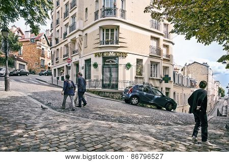 View Of The Historic District Of Montmartre In Paris, France