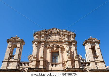 Baroque Church Facade In Marsala, Sicily