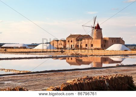 Windmill at the Marsala salt flats