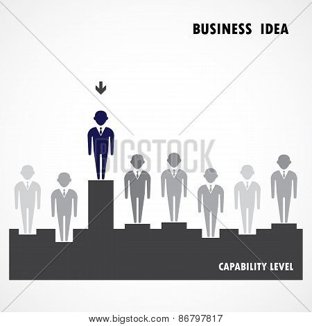 Businessman Standing Out From The Crowd. Business  Idea, Capability And Leadership Concept.