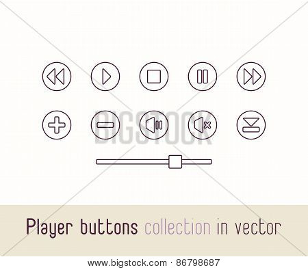 Multimedia Player Linear Icons Set. Outline Style Buttons