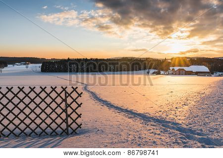 Beautiful winter landscape at sunset