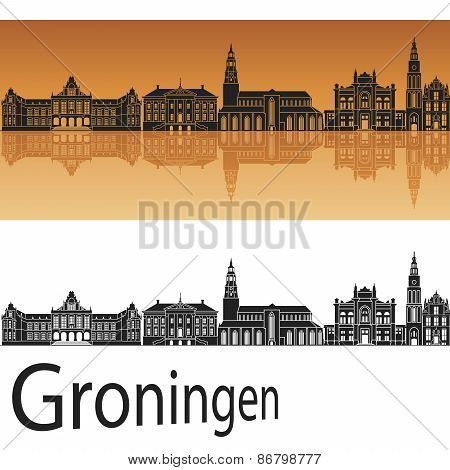Groningen Skyline In Orange Background