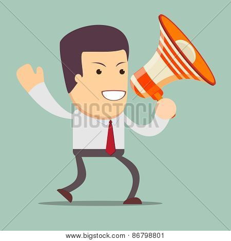 Businessman walking and talking into a megaphone .