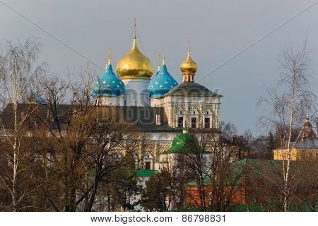 The great Trinity monastery in Sergiyev Posad near Moscow. Golden Ring of Russia