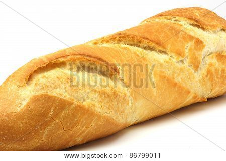 Part of Baguette Bread On White Background