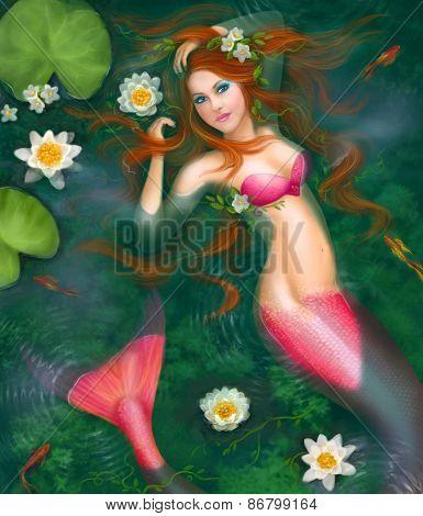 Beautiful Fantasy mermaid in water, in lake with lilies. Underwater