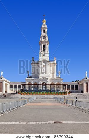 Sanctuary of Fatima, Portugal. Basilica of Nossa Senhora do Rosario in the Sanctuary of Fatima. One of the most important Marian Shrines and pilgrimage location in the world for Catholics