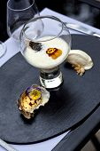 stock photo of oyster shell  - Oyster sauce caviar grilled oysters and oyster sorbet - JPG