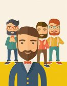 picture of scribes  - Team of four happy hipster Caucasian business people with beard - JPG