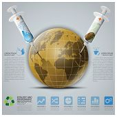 pic of save earth  - Ecology And Environment Infographic With Syringe To Save The Earth Vector Design Template - JPG