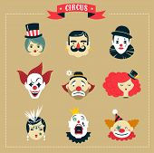 stock photo of circus clown  - Vintage Hipster Circus - JPG